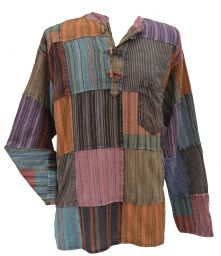 Stonewashed patchwork shirt - assorted colours