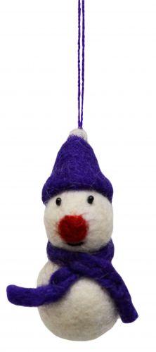 Felt - Christmas Decoration - Snowman - Purple