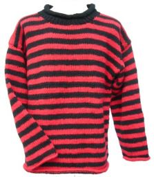 Pure wool jumper - stripe - Red/black