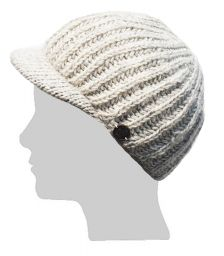 Hand knit - pure wool - ribbed - peak hat - Pale Grey
