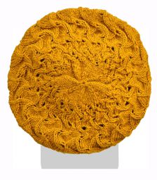 Half fleece lined - scroll beret - Mustard