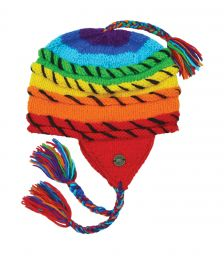 Rainbow ear flap hat - rope stitched - pure wool - hand knitted - fleece lining