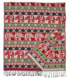 Elephants - Blanket/Shawl - Red