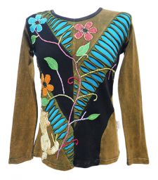 *** SALE *** - 'Cut' and Embroidered Vine Top - Green/Black