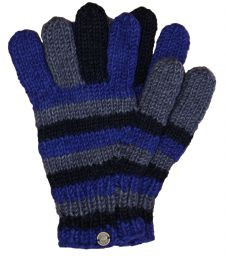 Fleece lined - pure new wool - striped gloves - Blue/Grey/Black