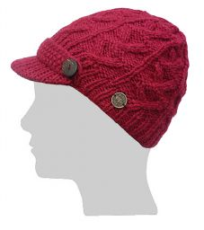 Hand knit - half fleece lined - cable - peak hat - Berry