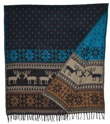 Reindeer - Blanket/shawl - Teal/black