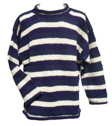 Pure wool jumper - stripe - Blues/cream