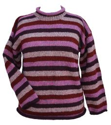 Pure wool jumper - stripe - Heather