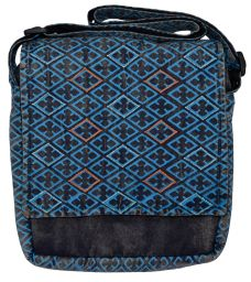 Stonewashed - diamond pattern bag - blue
