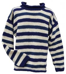 Pure wool jumper - stripe - Blue/white/blue