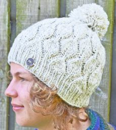 Hand knit - heather leaf bobble hat - Natural