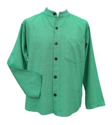 Full buttoned - plain shirt - green