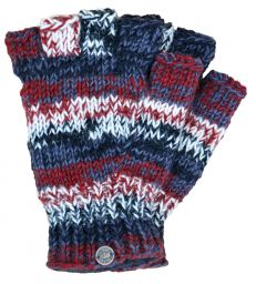 Pure wool - electric stripe - fingerless gloves - brick/natural
