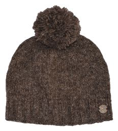 Classic bobble hat - hand knitted - fleece lining - marl brown