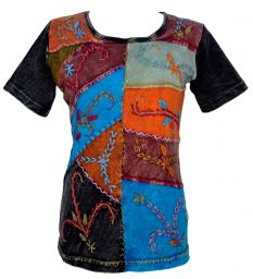 Embroidered  Patchwork - T Shirt - Black