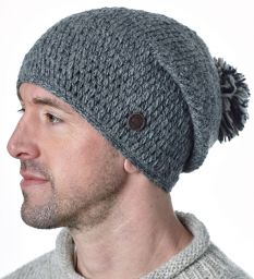Hand crochet - bobble slouch - mid grey