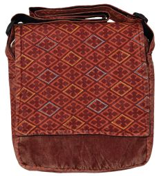 Stonewashed - diamond pattern bag - red