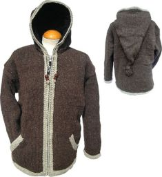 pixie hooded - contrast border jacket - Brown/Grey