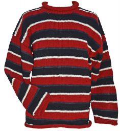 Pure wool jumper - random stripes - red
