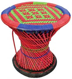 Mudha stool - green and red small pattern