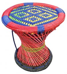 Mudha stool - yellow, green and blue large pattern