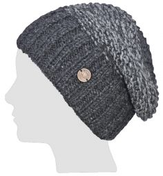 Hand knit - moss two tone - baggy beanie - Charcoal