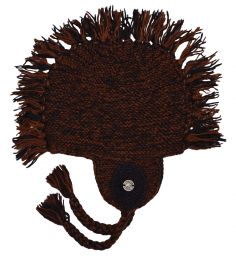 half fleece lined - medallion mane ear flap - Brown