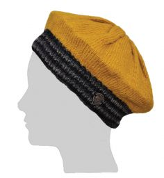 Half Fleece Lined - Contrast Beret - Mustard/Grey
