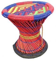 Mudha stool - yellow, red, green and blue mix pattern