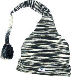Half fleece lined - cotton one tail hat - Black/White