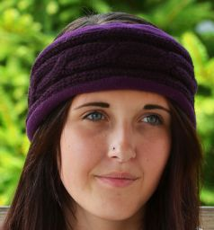 Fleece lined headband - cable - Aubergine