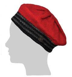 Half Fleece Lined - Contrast Beret - Red/Grey