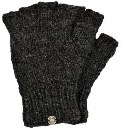 Pure Wool - Fingerless Gloves - Plain - Charcoal