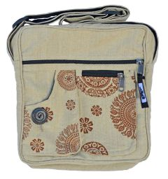 Double pocket - print fabric bag - linen
