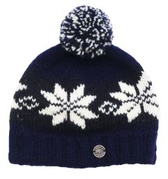 Snowflake bobble hat - pure wool - fleece lining - blue / smoke