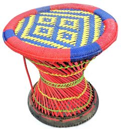 Mudha stool - yellow and blue large pattern