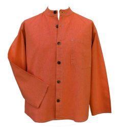 Full buttoned - plain shirt - coral