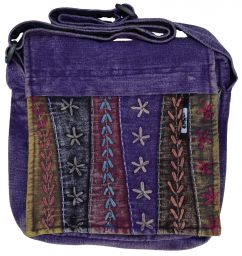 Hand embroidered - medium bag - purple