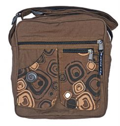Double pocket - print fabric bag - coffee