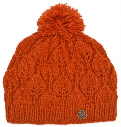 Hand knit - leaf pattern bobble hat - spice