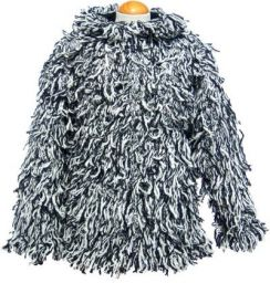 fleece lined - shaggy jacket - Black / White