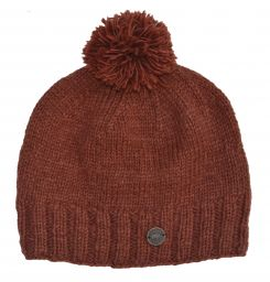 Classic bobble hat - hand knitted - fleece lining - Cocoa