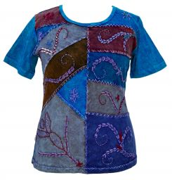 Embroidered  Patchwork - T Shirt - Turquoise