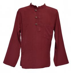 Button loop - flax shirt - dark maroon