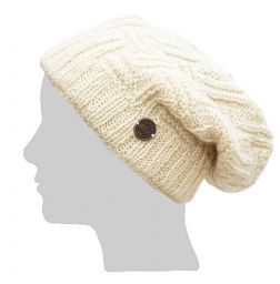 half fleece lined - basket weave slouch - White