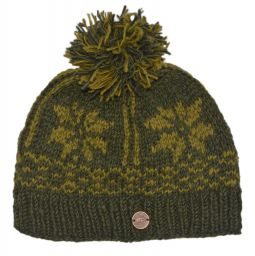 pure wool - snowflake band bobble - Dark green