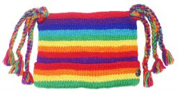 Hand knit pure wool - hat o'six tails - Rainbow