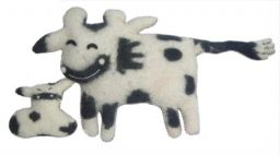 Cow and Calf - Felt Cushions - black/white