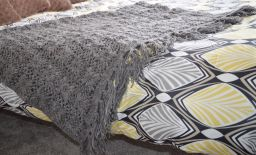 Pure Wool - Crochet Blanket - Mid Grey